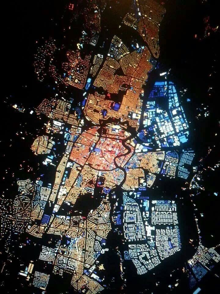 Haarlem. My hometown. By night. From above... the Netherlands