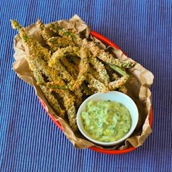 """Spicy Green Bean """"Fries"""" with an Avocado Dipping Sauce"""