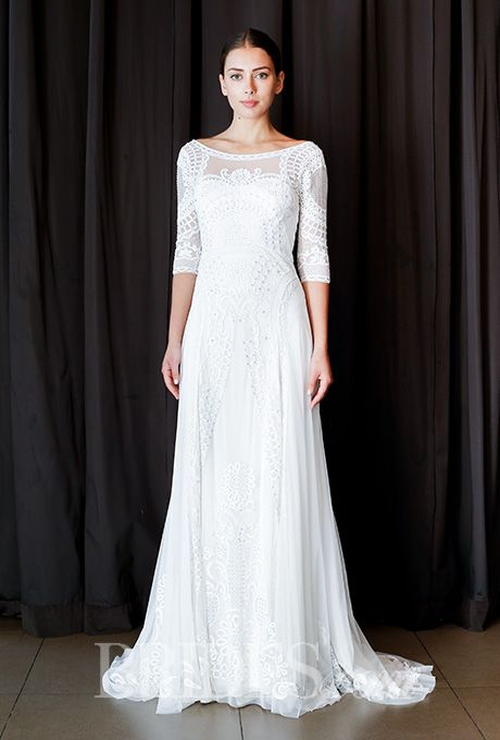 An embroidered @TemperleyLondon wedding dress with 3/4-length sleeves | Brides.com
