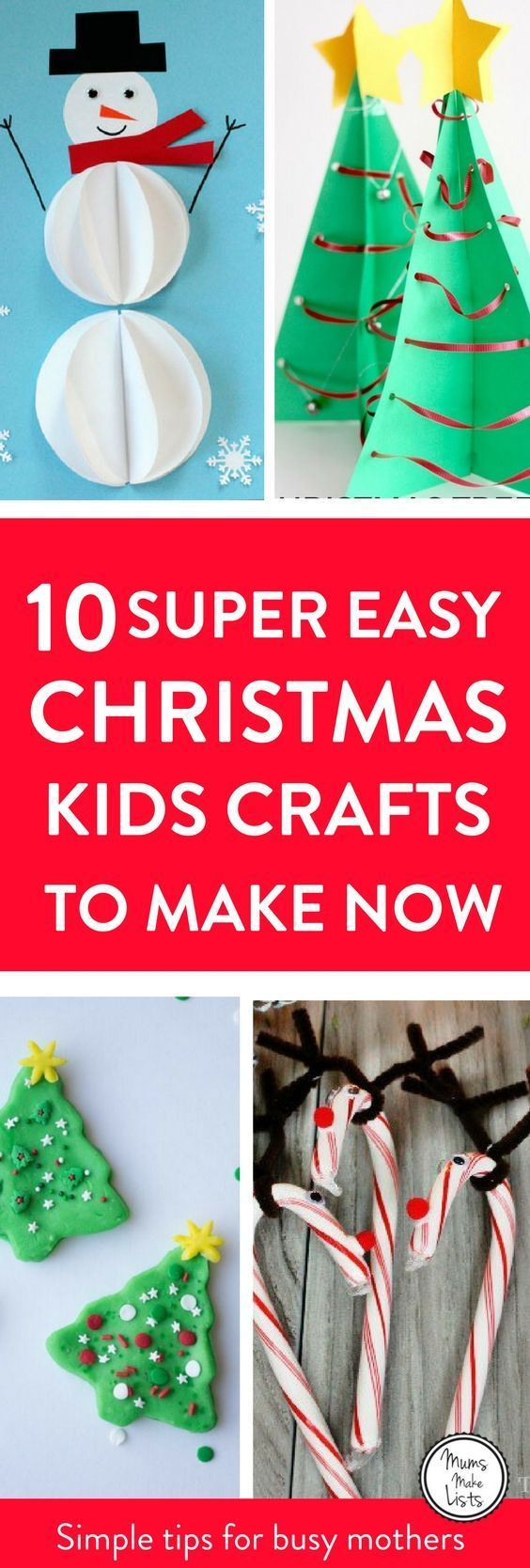 Christmas crafts for kids to make! Here are ten super easy Christmas crafts for kids to make on their own - or with minimal help. We have got paper based crafts, Christmas card and decoration ideas. There is also a lovely lolly stick idea and one using pi