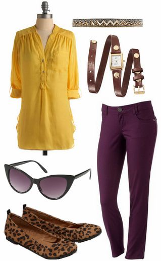 Purple + yellow outfit 1