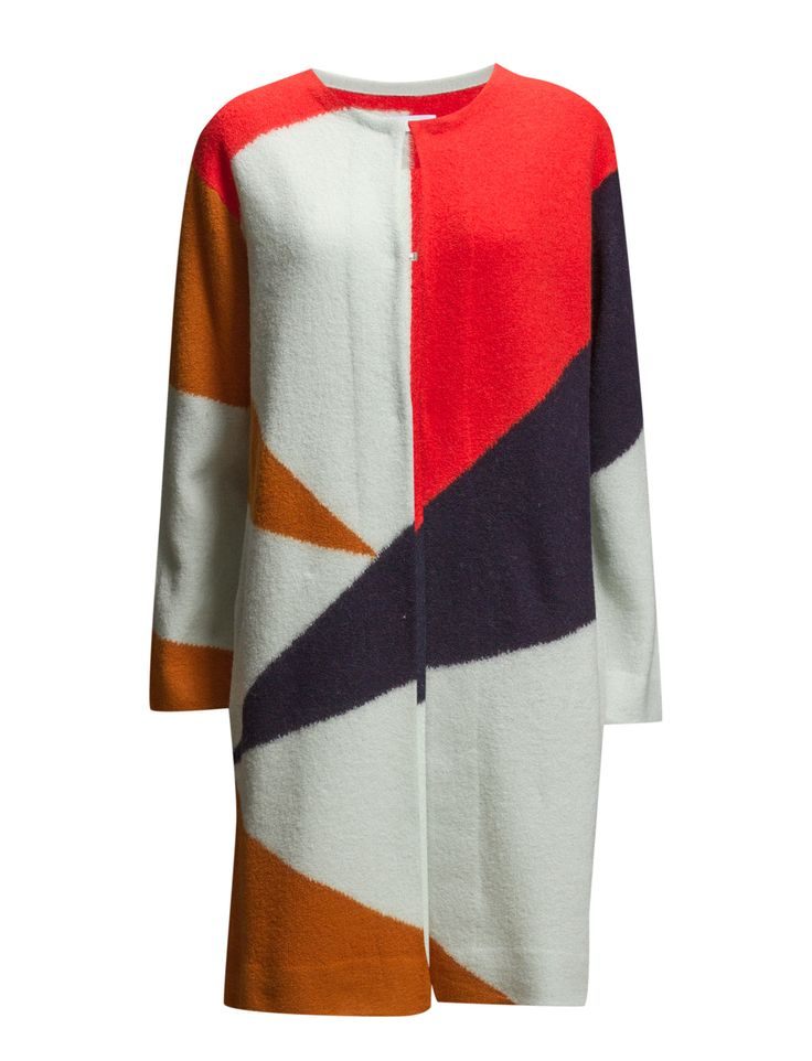 2nd Capre (Multi Colour) - DAY BIRGER ET MIKKELSEN  Watch for triangular blocks of colours on this cardigan you'll absolutely crave from 2ND DAY. Two hidden hooks create a closure that's still open. The long knee-length, angled pockets and loose fit lets you wear any kind of outfit underneath and enjoy a look that adds impact.  Eye hook closure Oversized fit Vibrant print Drop shoulder seams Round collar Made from 100% wool.