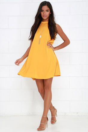 Sway Time Mustard Yellow Swing Dress at Lulus.com!