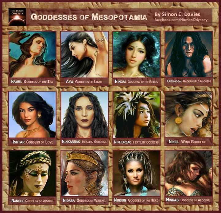 Goddesses of Mesopotamia --- In ancient Mesopotamia, many of the divine goddesses were equal in strength, power and wit to their masculine counterparts. These primordial beings ruled with an equal status for many centuries, but towards the end of the Bronze Age, their positions were slowly eclipsed by new and emerging religions such as Judaism and Zoroastrianism.