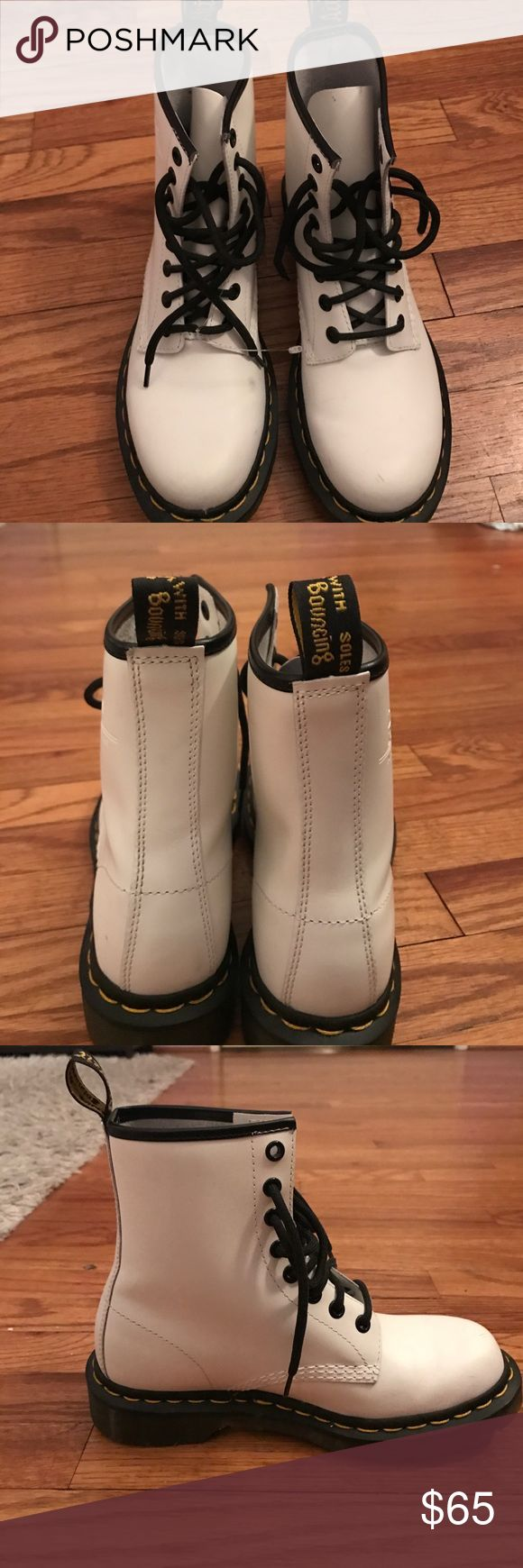 WHITE DOC MARTENS Super cute white doc martens that have only been worn once. Dr. Martens Shoes Combat & Moto Boots