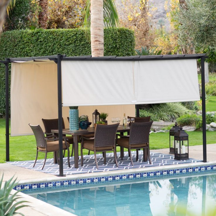 Belham Living Steel Outdoor Pergola Gazebo with Retractable Canopy Shades -  Enjoy your time outdoors, - 31 Best N's Stairs And Shade Ideas Images On Pinterest Stairs
