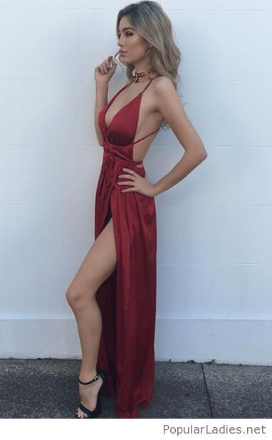 Beautiful long red dress with black sandals