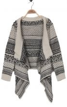 Black and Beige Striped Tribal Asymmetric Hem Cardigan Sweater $31.45