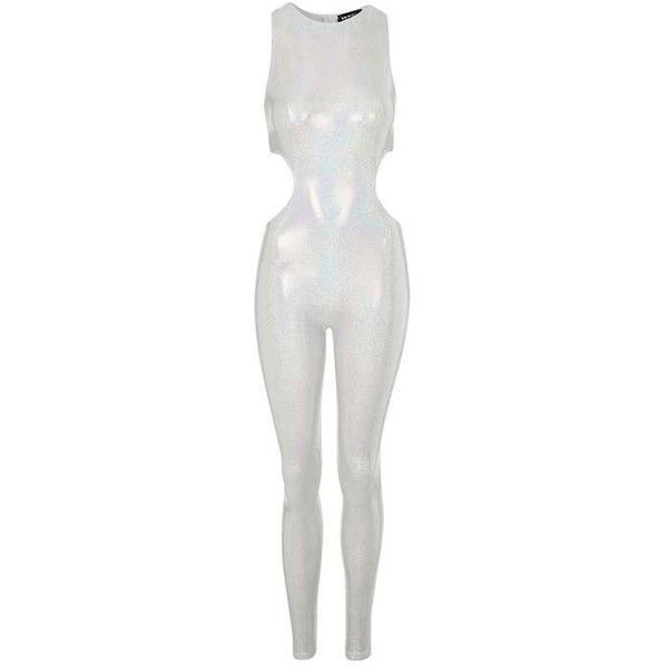 Silver Holographic Cat Suit by Jaded London ($85) ❤ liked on Polyvore featuring jumpsuits, white cut out jumpsuit, topshop jumpsuit, silver jumpsuit, cut-out jumpsuits and cut out jumpsuit