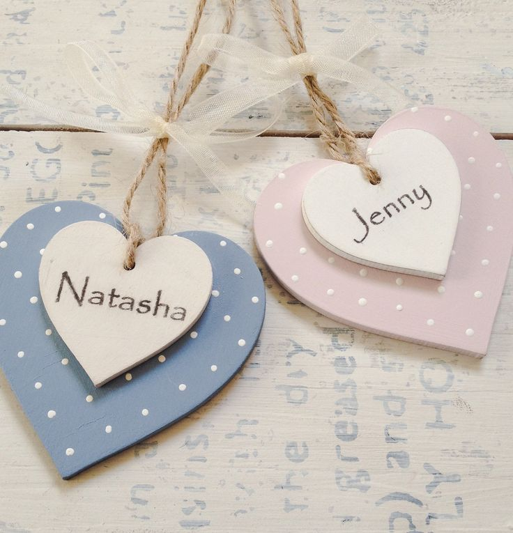 Wooden Heart Favour Personalised Keepsake Name Place Gift Tag Pink Or Blue Ta Rustic Cottage Wedding Shabby Chic