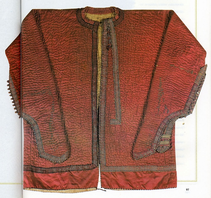 15th century Ottoman kazaghand, a jacket with a  silk outer layer, a layer of padding, with a zirah (mail shirt) hidden inside. Topkapı Palace Museum, Istanbul Turkey. One of two known examples.