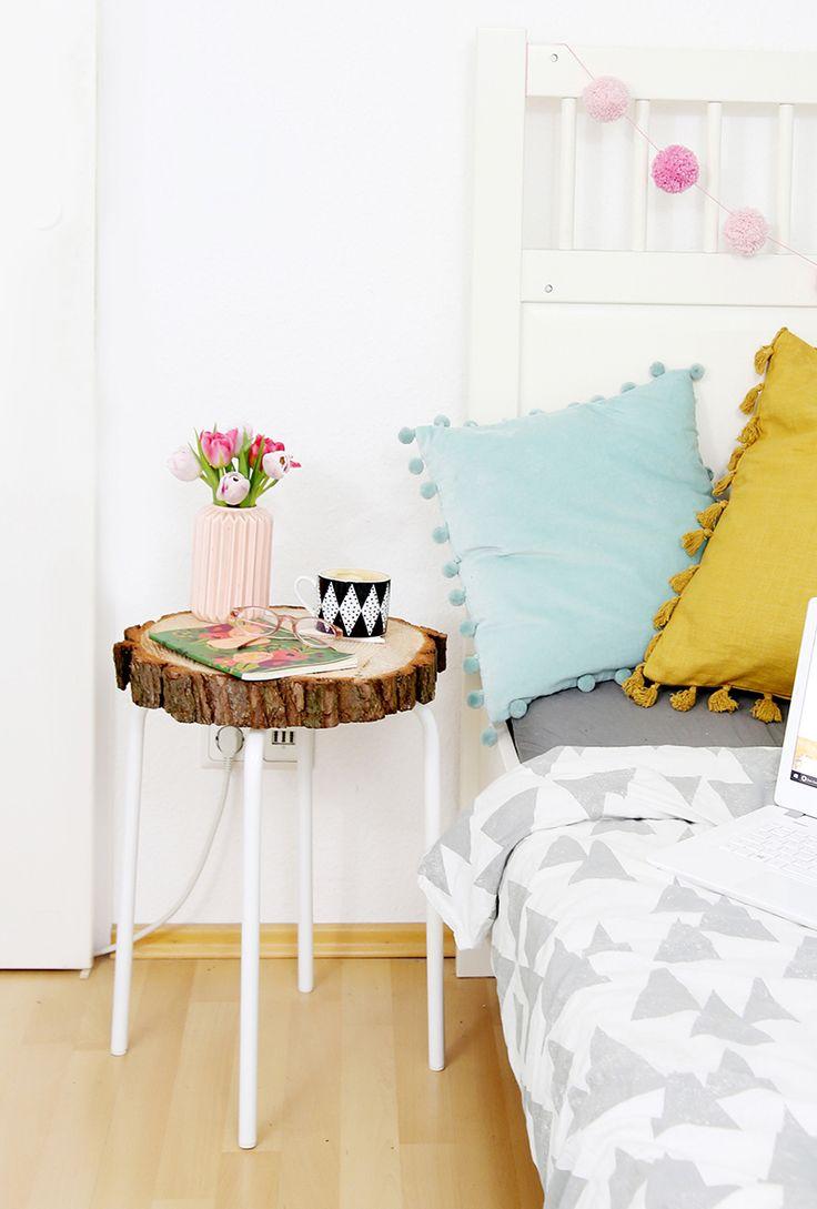 Kreative DIY Idee mit Ikea Hack: Tisch aus Holzscheibe selber machen mit Ikea Hocker Marius   DIY Anleitung   DIY Blog