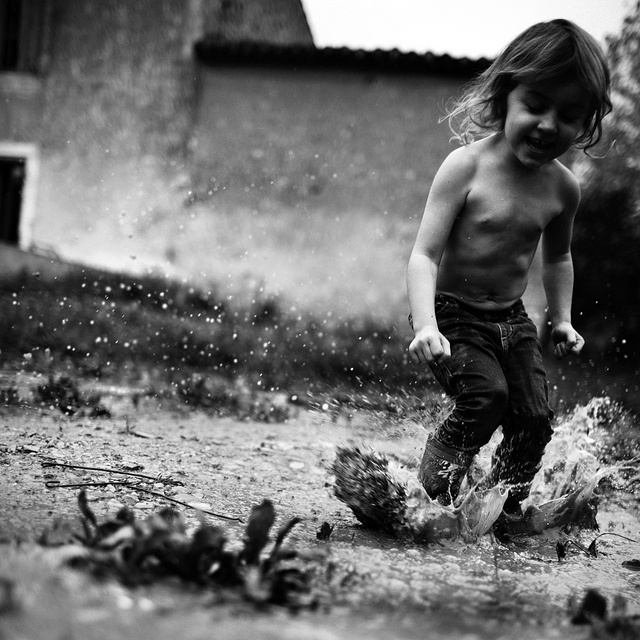 Rain puddles.