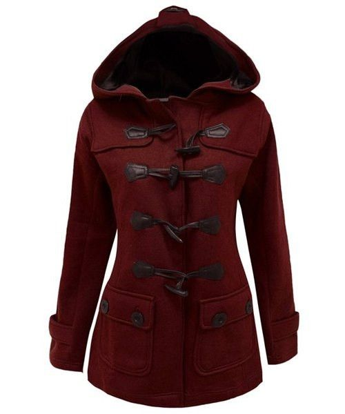 chic hooded long sleeve button design women 39 s coat. Black Bedroom Furniture Sets. Home Design Ideas