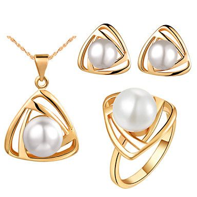 Triangle Gold Silver Plated (Necklaces&Earrings&Rings) Wedding Jewelry Sets  – USD $ 13.99