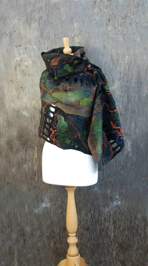 Nuno Felted scarf felted shawl felt scarf merino wool silk black brown green…