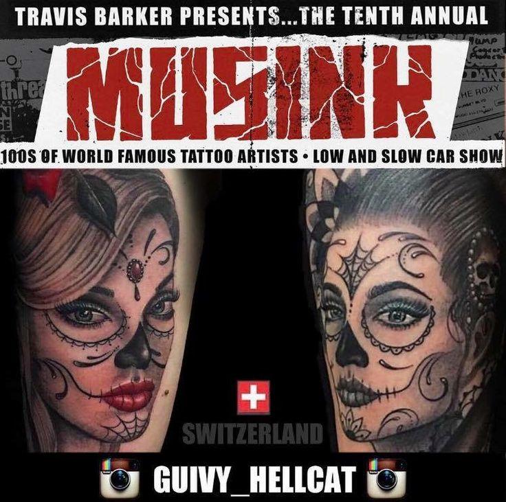 MUSINK 2017 (Los Angeles - California)  GUIVY Tattoo - (Geneva / SWITZERLAND)  #geneve #swiss #switzerland #swiss made #tatouage #tatoueur #shop #studio #salon #travel #travis #barker #catrina #santa muerte #mexican #portrait #chicana #girl #visage #femme -#féminin #woman #tattooist #tattooer #swiss #made #lausanne #bern #zurich #basel #tatoo #annecy #lyon #france #roadtrip #wanderlust #mexicain #makeup #dentelle #details #suisse