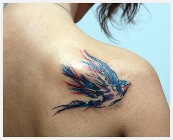 Water Color Swallow Bird Tattoo On Back Shoulder