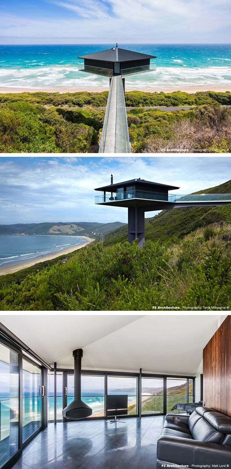 F2 Architecture have designed the Pole House, perched high above the scenic Great Ocean Road in Australia.