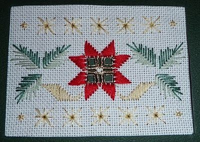 Mary Joan Stitching: Hardanger Gallery. Christmas Poinsettia Card.