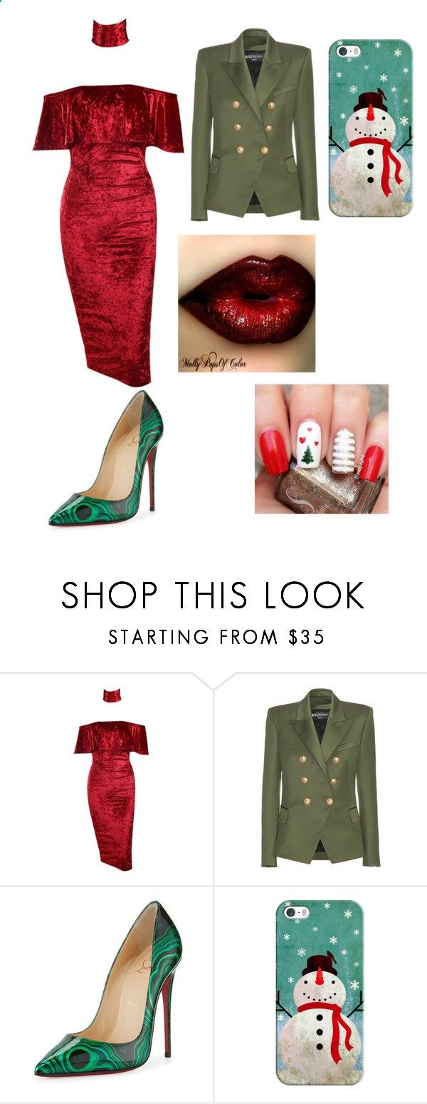 Christmas outfit by kirajohnson349 ❤ liked on Polyvore featuring LOVA, Balmain, Christian Louboutin and Casetify