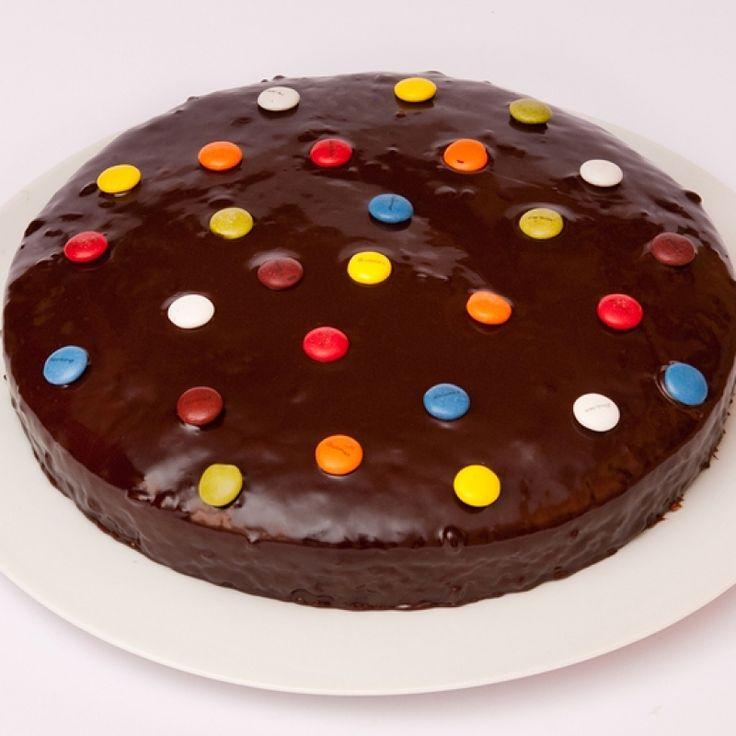 Single layer smartie chocolate cake recipe has a creamy chocolate ganache. . Smartie Chocolate Cake  Recipe from Grandmothers Kitchen.