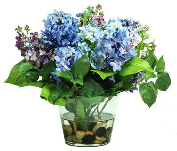 Jane Seymour Botanicals Lilac Arrangement in Glass Vase farmhouse-artificial-flowers