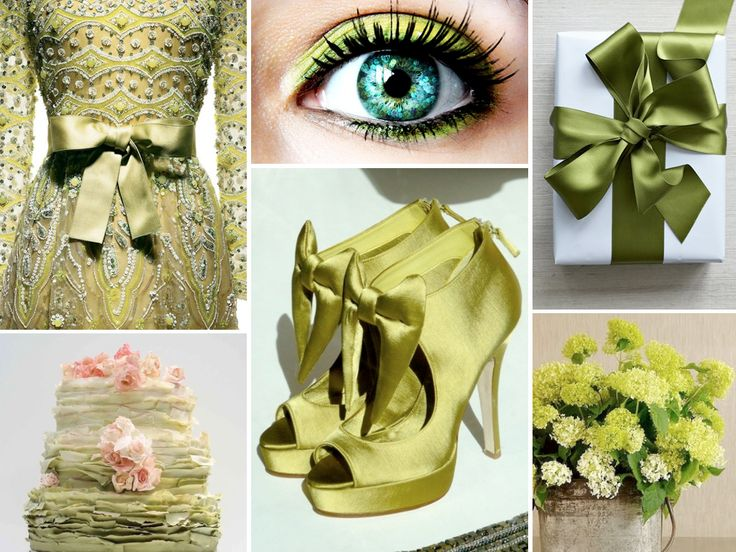 A chartreuse wedding is a chic and trendy color that will leave some naysayers 'green' with envy (Shoes are by, Matthew Williamson.... Let me know if anyone knows who designed the gown???)