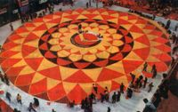 The biggest and ultimate onam pookalam design on the celebration of onam festival