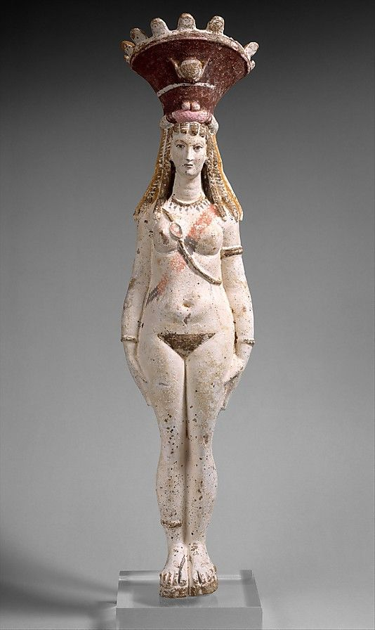 Ancient Egyptian Greco-Roman figure of Isis-Aphrodite; her calathos/crown has the winged sun disc and horns of Isis. (Metropolitan Museum of Art)