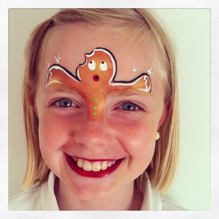 I think I have this pinned already, but it is my favorite gingerbread design! Gingerbread Man Face Paint