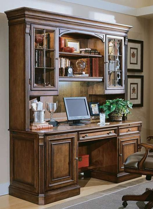 Make a statement in your home office with the Brookfield Hutch; a functional work space that handsomely keeps your work essentials organized.: Offices Desks, Brookhaven Credenzas, Hooker Furniture, Computers Desks, Offices Ideas, Furniture Brookhaven, Hooker Brookhaven, Brookhaven Hutch, Home Offices