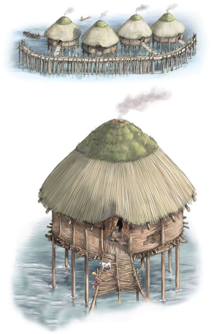 Built over a wide river with access to the North Sea and inland farms these Bronze Age houses could have easily traded grain, meat and metal tools. Yet not long after they were built 3,000 years ago the houses burned down and collapsed into the water preserving their contents | Illustration by Adolfo Arranz and Chris Bickel