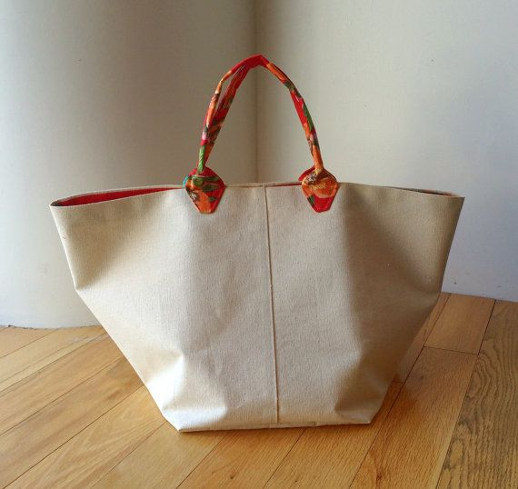 Natural Cotton Canvas French Market Bag