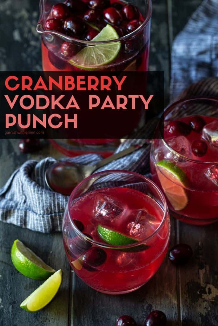 Easy Cranberry Vodka Punch Recipe For Parties Garnish With Lemon Cranberry Vodka Punch Cranberry Vodka Vodka Punch Recipe
