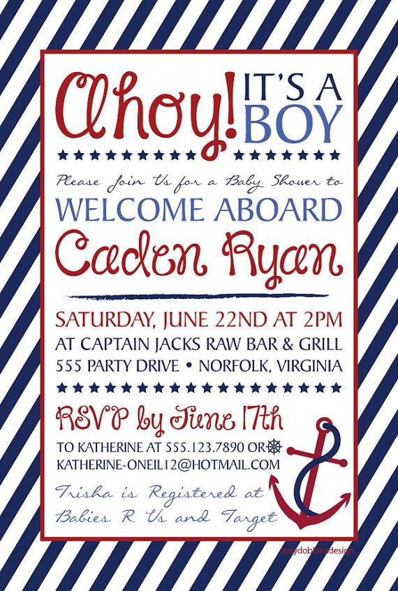Ahoy It's A Boy - Nautical Baby Shower Invitation, Digital Invitation-Personalized-Print From Home