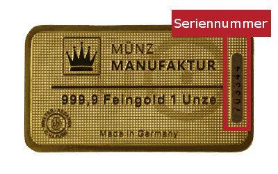 Edelmetall Protect Goldbarren Seriennummer