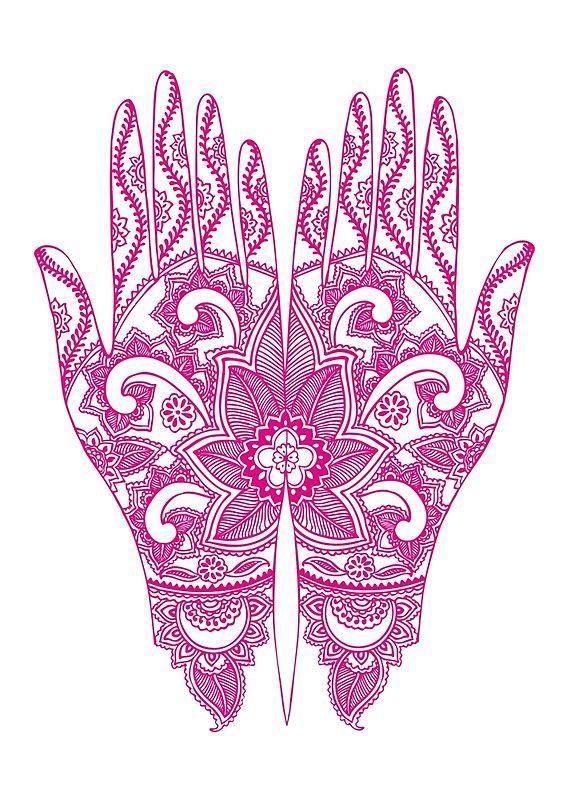 Mehndi Tattoo Hands   Hot Pink