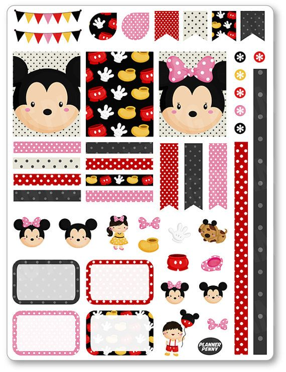 Mouse Friends Decorating Kit / Weekly Spread Planner Stickers for Erin Condren Planner, Filofax, Plum Paper