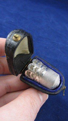 Victorian English Sterling Silver Atlantic Cable Thimble with Case - 1876
