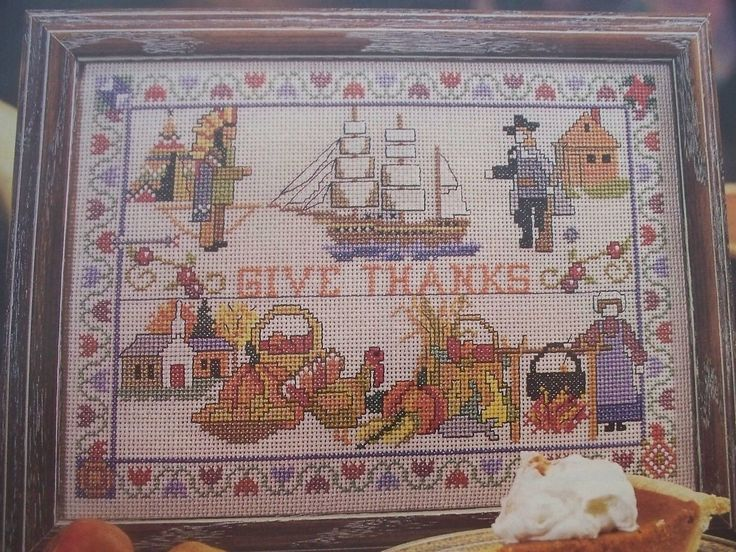 Give Thanks Fall Thanksgiving Pilgrim OOP Magazine Cross Stitch PATTERN (Y) | eBay