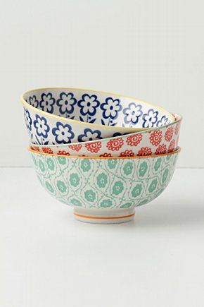 decorative bowls: Kitchens, Anthropologie Bowls, Mixed Bowls, Anthropology, Pattern, Colors, Cereal Bowls, Atoms Art, Art Bowls
