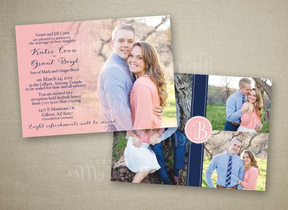 Coral and Navy Picture Wedding Invitation by ShesMyTuesday on Etsy