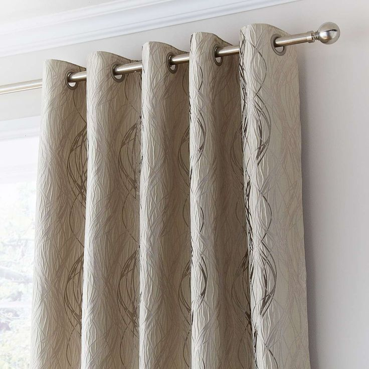 Victoria Cream Lined Eyelet Curtains | Dunelm