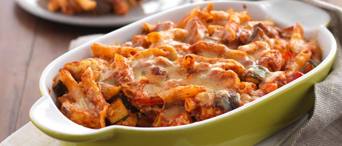 Cheesy Chicken & Roasted Vegetable Pasta Bake recipe from Food in a Minute
