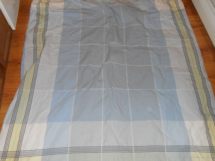 Nautica Hamilton Twin Duvet Cover Blue Yellow White Plaid Rare Bedding #Nautica