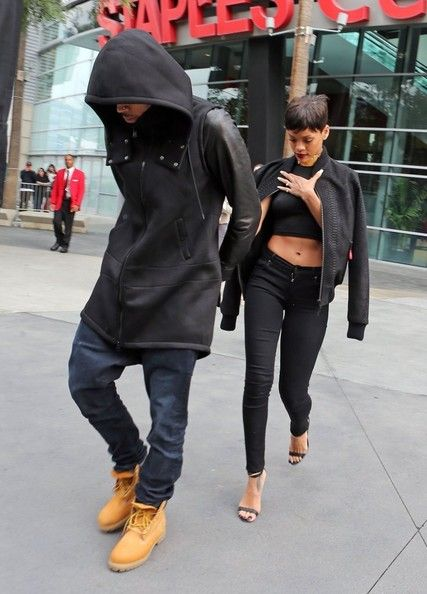 Chris Brown And Rihanna Leaving The Lakers Game