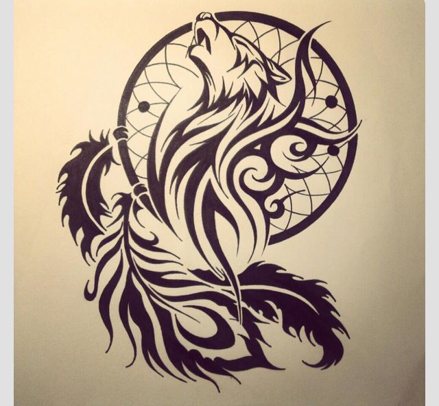 Tribal Wolf Dreamcatcher Tattoos With A Dream Catcher