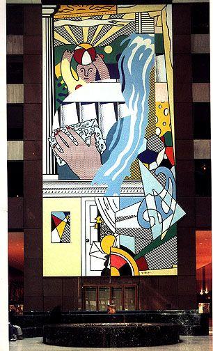 Mural with Blue Brushstroke, Roy Lichtenstein, AXA Equitable Center
