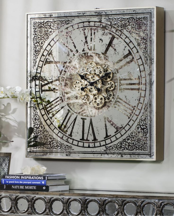 Evoking romantic images of yesteryear and the decorative detail of European design, our wall clock features a sculptural 3D mechanism in an elegant combination of metallic finish, mirror and glass. Think French inspired furniture and Baroque excess.